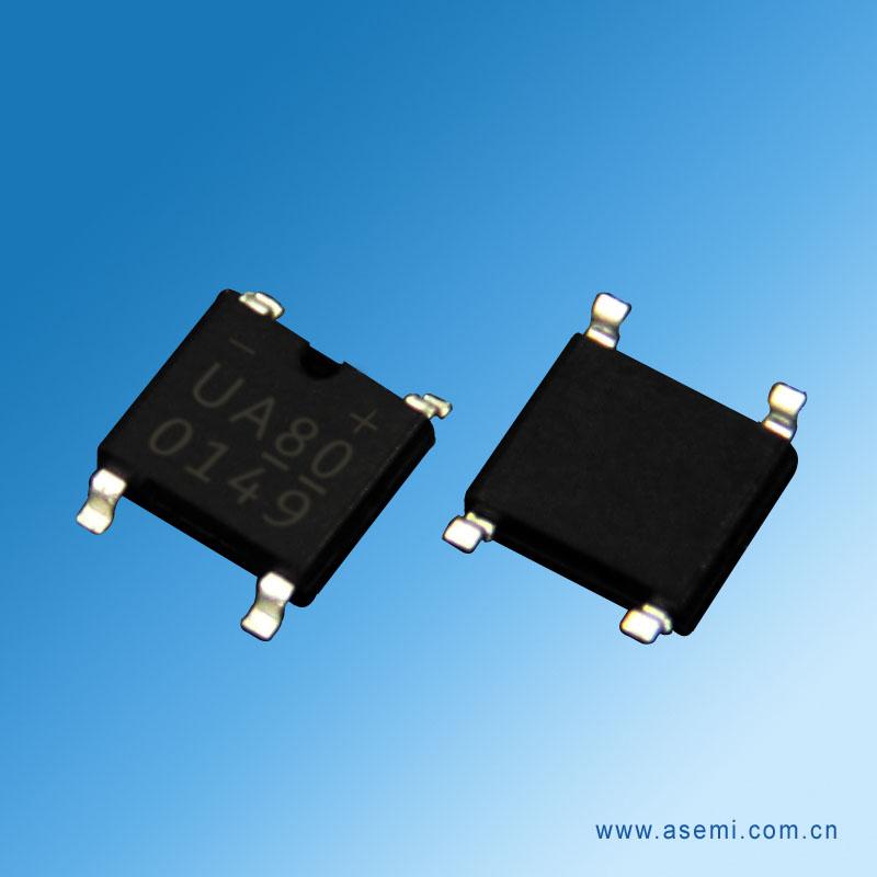强元芯12年专业生产UA80,拥有170人研发团队和8500整流桥堆生产厂房,UA80等整流桥均采用波峰GPP芯片,28条台湾健鼎测试线,确保UA80的高可靠性。 UA80整流桥(封装 SOP-4 扁桥) 参数规格:电流:1A;电压:800V ;盘装:1000PCS/盘;20K/件。 主要应用于小电流领域产品,小功率开关电源,电源适配器,LED灯源电路,充电器,家用小电器等相关电器产品。本产品 原装质量保证 高稳定性和可靠性。欢迎咨询 取样测试。     深圳市强元芯电子有限公司是一家集科研、开发,制造、